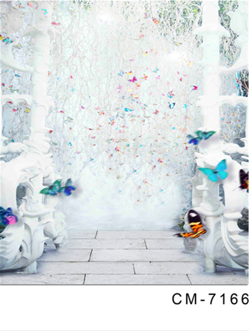 Pure White Photography Background Cloth 200x300cm Colorful Butterflies Vinyl Backdrop for Photography Custom Wedding Photocall 200 300cm 6 5 10ft studio backdrop for alentine s day vinyl custom photography letter combinations romantic colorful for youth