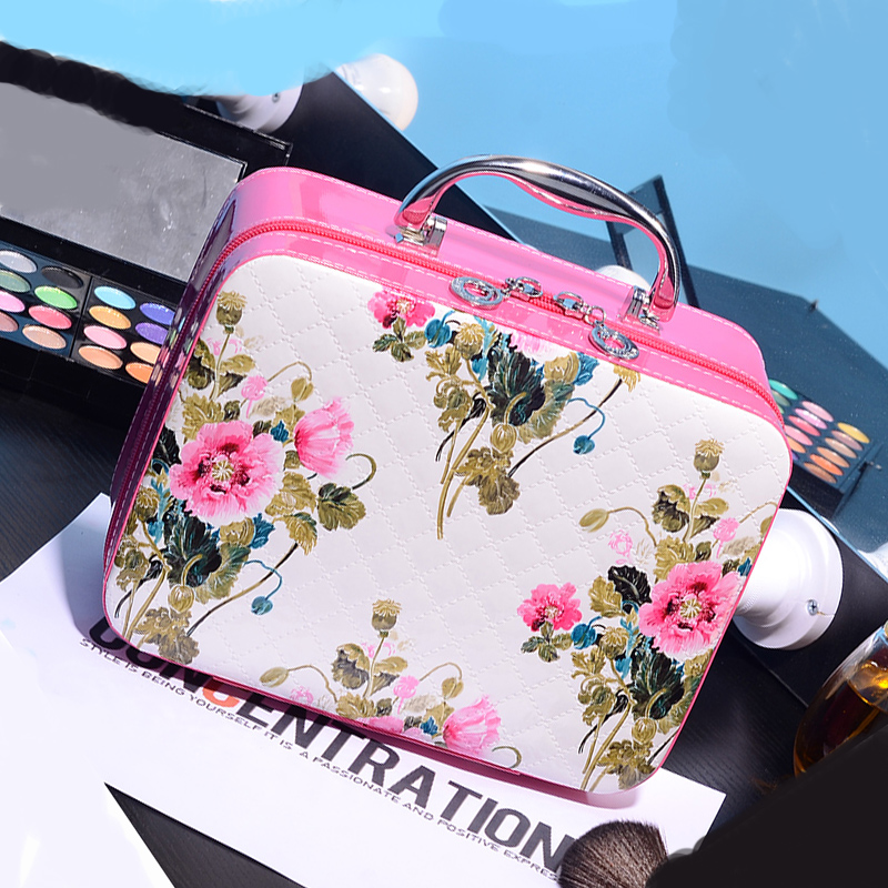 Free Shipping Fashion PU Cosmetic Bags Countryside Flower Pattern Makeup Storage Bag Nice Case for cosmetics flower pattern foldable cosmetic storage box blue white