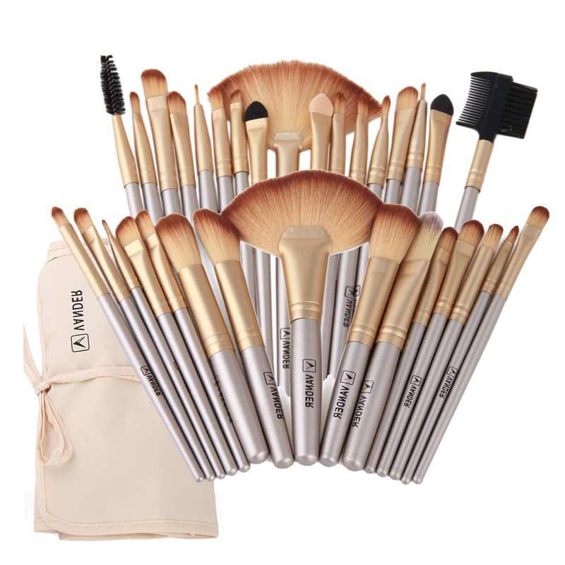 Vander Professional Soft Champagne 32pcs Makeup Brushes Set Beauty Cosmetic Real Make Up Tools Eyeshadow Blush Blending with Bag professional makeup brushes set 8 15 pcs power foundation eyeshadow blush blending make up beauty cosmetic tools kits hot