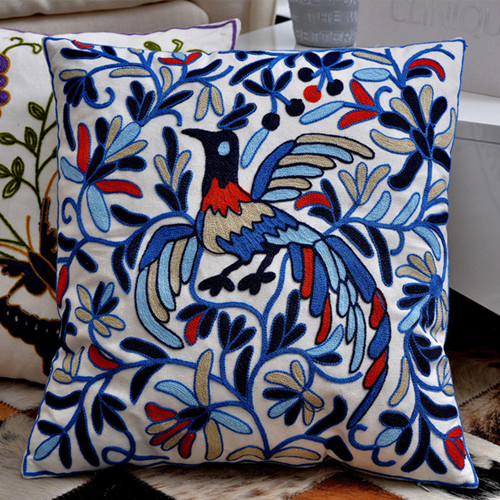 Peacock Embroidered Cushions Cover Home Decor Blue Decorative Adorable Red And Blue Decorative Pillows