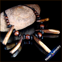 Wholesale Tibetan Tribal Jewelry Natural Long Teeth Wood Beads Leather Necklace Free Shipping