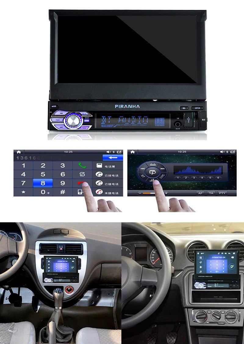 Retrattile 1 Din 7 pollici autoradio Mirror Link Audio HD Touch Screen lettore MP5 Radio Bluetooth supporto USB/TF/FM/SD telecamera posteriore