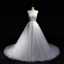 White V Neck Pearls Beading Alencon Lace A Line Tulle V Backless Wedding Dress Bridal Gown