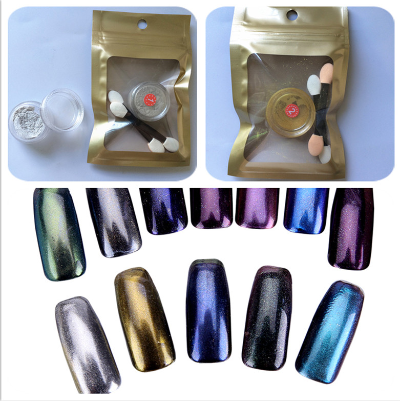1g / box Zrcadlový prášek Zlatý stříbrný pigment na nehty Glitter Nail Art Chromový efekt Magic Mirror Powder pro nehtové nehty
