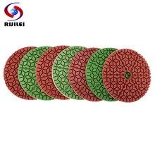 RIJILEI 10Pcs/Set Marble Polishing Pad 4 Inches Diamond Sanding Disk For Granite 100mm Premium Wet Pads WPD11