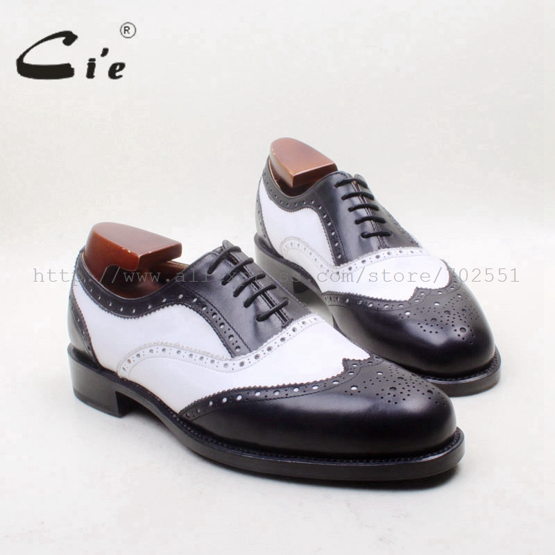 cie Free Shipping Bespoke Custom Handmade Pure Genuine Calf Leather Full Brogues Men's Dress Oxford Color Black Shoe NoOX23