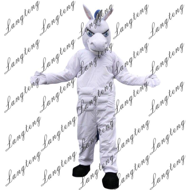Offre spéciale blanc licorne cheval mascotte Costume taille adulte Halloween tenue fantaisie robe Costume livraison gratuite 2019New