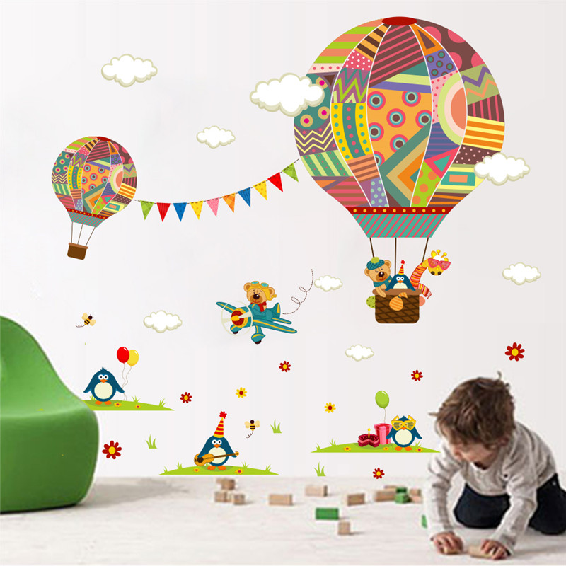 Us 2 52 17 Off Colorful Hot Air Balloon Forest Animals Nursery Room Wall Sticker Bear Giraffe Children S Decor Decals Poster Mural In