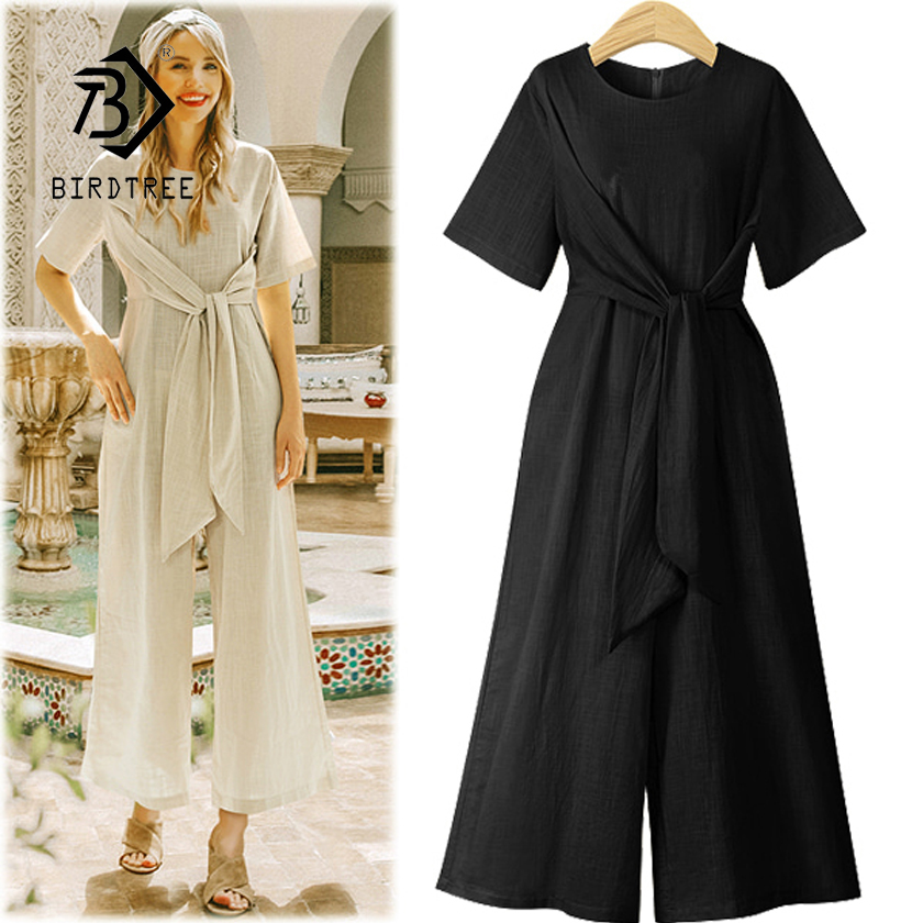 New Arrival Women Cotton Linen High Waist Lace Up Short Sleeve Jumpsuit Lady Wide Leg Pants Female 4XL Plus Size Hots S87304F 1