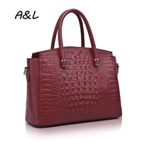 100 Genuine Leather Handbag Women Brand Designer Crocodile Grain Tote Office Lady Fashion Casual Shoulder Messenger