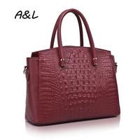 100 Genuine Leather Handbag Women Brand Designer Crocodile Grain Tote Office Lady Fashion Casual Shoulder Messenger