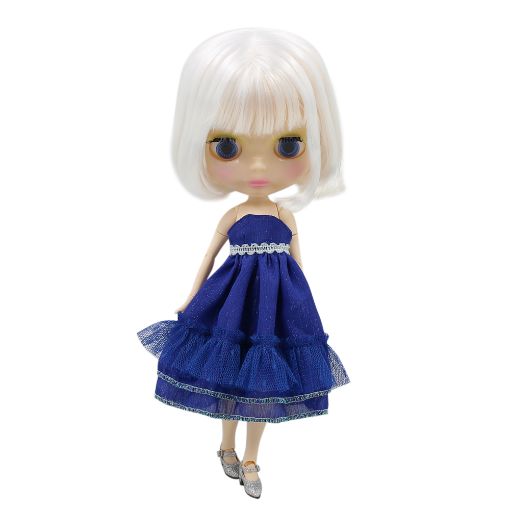 blyth doll joint body factory BjD 150BL136 Cute white short straight hair for girl present DIY