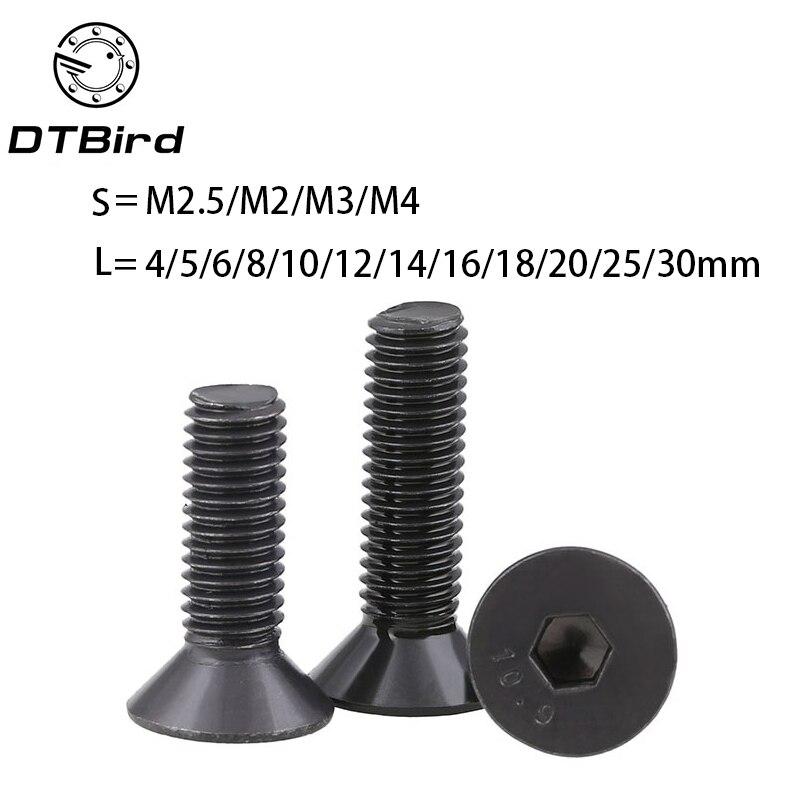 50 pcs/lot M2 M2.5 M3 M4 *L =4~50mm black oxide grade 10.9 class DIN7991 alloy steel Hex socket flat head CSK screw 2017 m3 titanium screw kit 9 size 90pcs m3 hex socket flat head screw din7991 titanium bolt super light screws 5mm 20mm