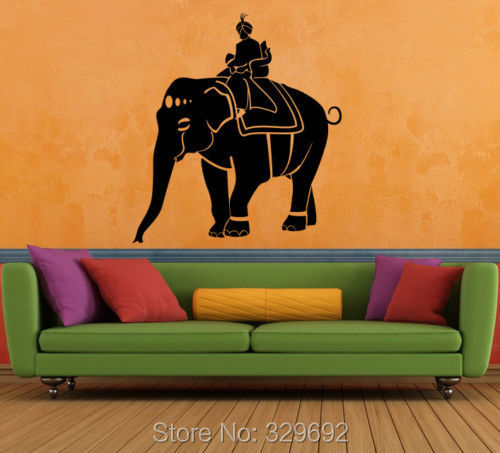 Wall Decal Vinyl Sticker Art Modern Indian Elephant Animal India Dubai wall stickers home decor