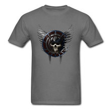 3D Skull T-shirt Men Grey Tshirt Battle Crest Europe T Shirt 100% Cotton Fabric Round Neck Mens Tops Punk Design Tee Clothes цены