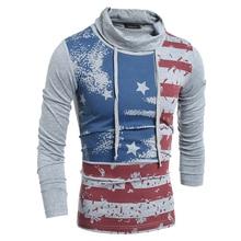 Autumn Mens Turtleneck Polos Shirt US Flag Print Men Hoodies Tops Shirt Long Sleeve Polo Shirt Males Fashion Bandage Clothes