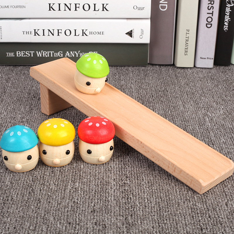 Solid wood children's puzzle Montessori early childhood baby 1-3 years old toy mushroom slide infant hands-on toy Desktop games