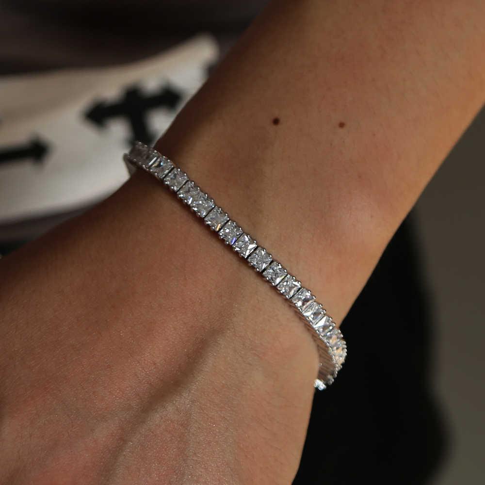 Najwyższej jakości kolor srebrny księżniczka cut filtr polaryzacyjny moda cyrkonia bransoletka tenisowa dla mężczyzn kobiet 19 cm 1row hip hop biżuteria