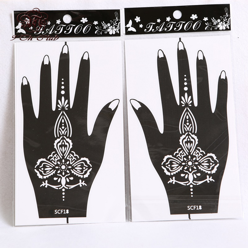 1 pair 2pcs henna hand tattoo stencil flower glitter for Henna temporary tattoo stencils