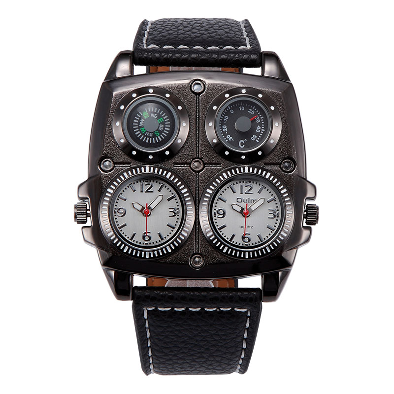 Men's Watches Sports Casual Quartz Wristwatch Leather Strap Oversize Military Compass Dial 2 Time Zone DZ Watch High quality men sports watch quartz watches multi time zone big dial square male antique clock leather strap casual wristwatch relogio