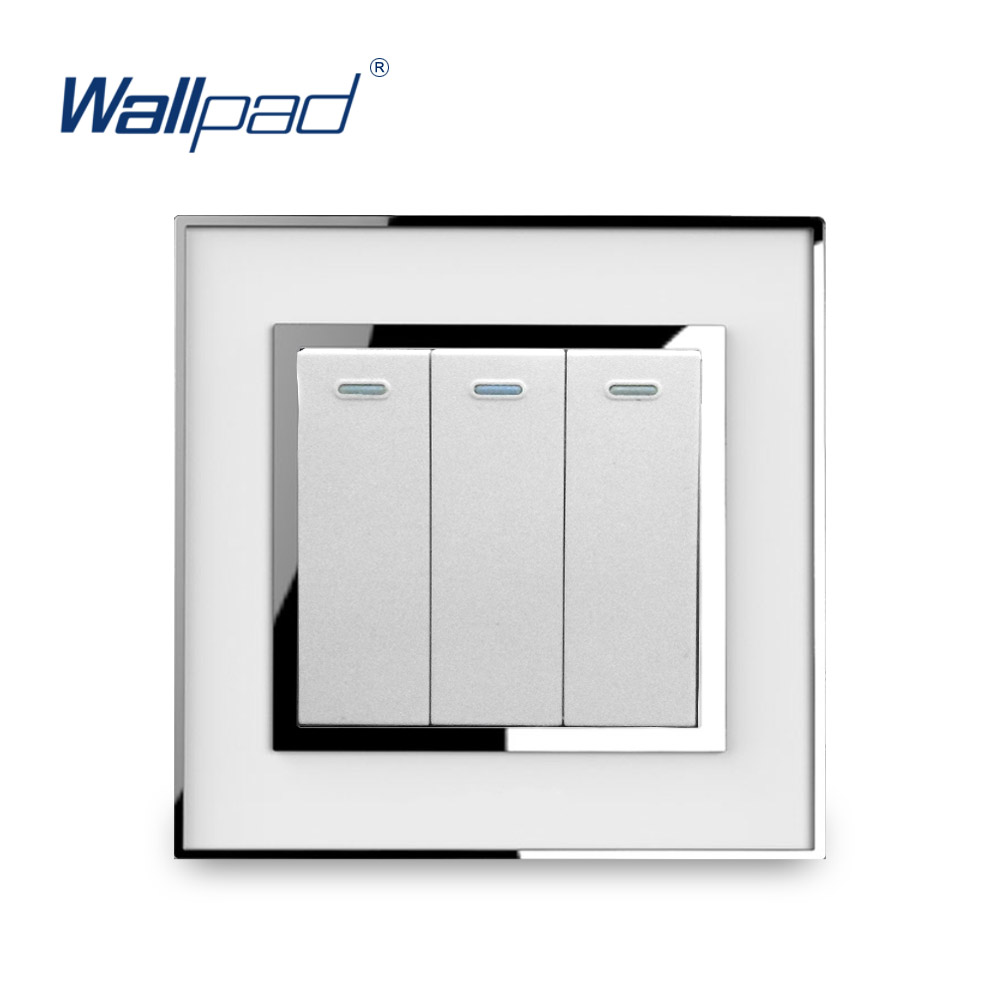 3 Gang Reset Switch Momentray Contact Doorbell Switches Function Luxury Acrylic Panel With Silver Border Wallpad Electric [vk] travel switch limit switches wlca12 2n silver contact thickness aluminum high temperature resistant