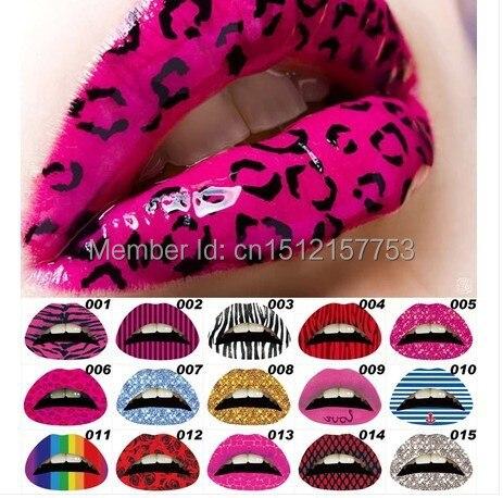 3D Art Lips Sticker Glitter Pink Sexy Pattern Makeup Tattoo Lip Sticker