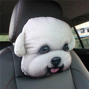 Image 5 - CHIZIYO новейшая модель 2020 года, 3d принт, шнауцер, плюшевое лицо собаки, подголовник для шеи, авто подушка для шеи без наполнителя