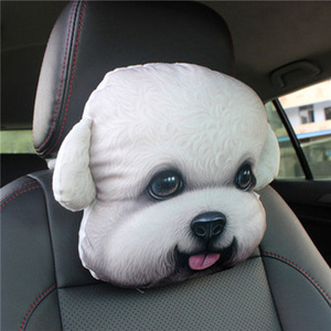 Image 5 - CHIZIYO Newest 2020 3D Printed Schnauzer Teddy Dog Face Car Headrest Neck Rest Auto Neck Pillow Without Filler