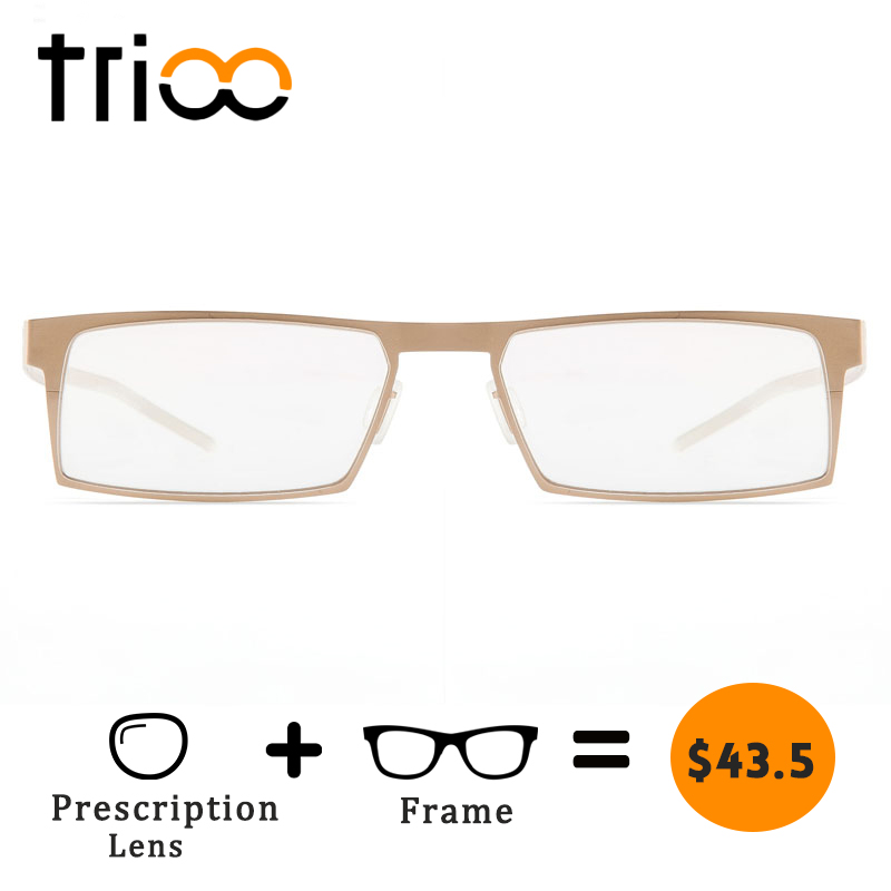 TRIOO Only 14 Gram Gold Alloy Glasses Men Contain Prescription Lens Eyeglasses Computer Clear Diopter Square Spectacles Graduate