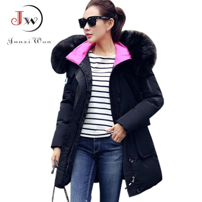 Long Fur Collar Thicken Slim Winter Jacket Women Plus Size Fashion Down Winter Coat Parka Coats