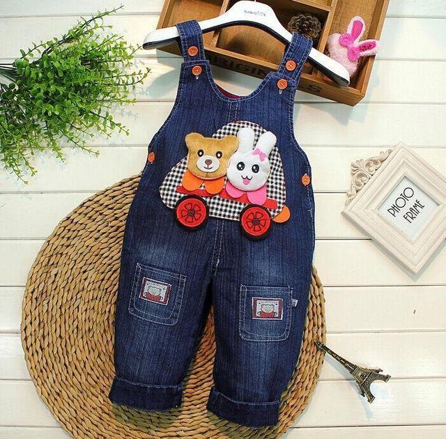 Primavera 2017 niños ropa de jeans en general recién nacido bebe bebé overol de mezclilla monos para el niño/bebé niños niñas pantalones del babero