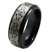 Free Shipping 8mm Unique Handmade Black Tungsten Carbide Ring Bevel Edges Laser Engraving Fashion Jewelry Ring