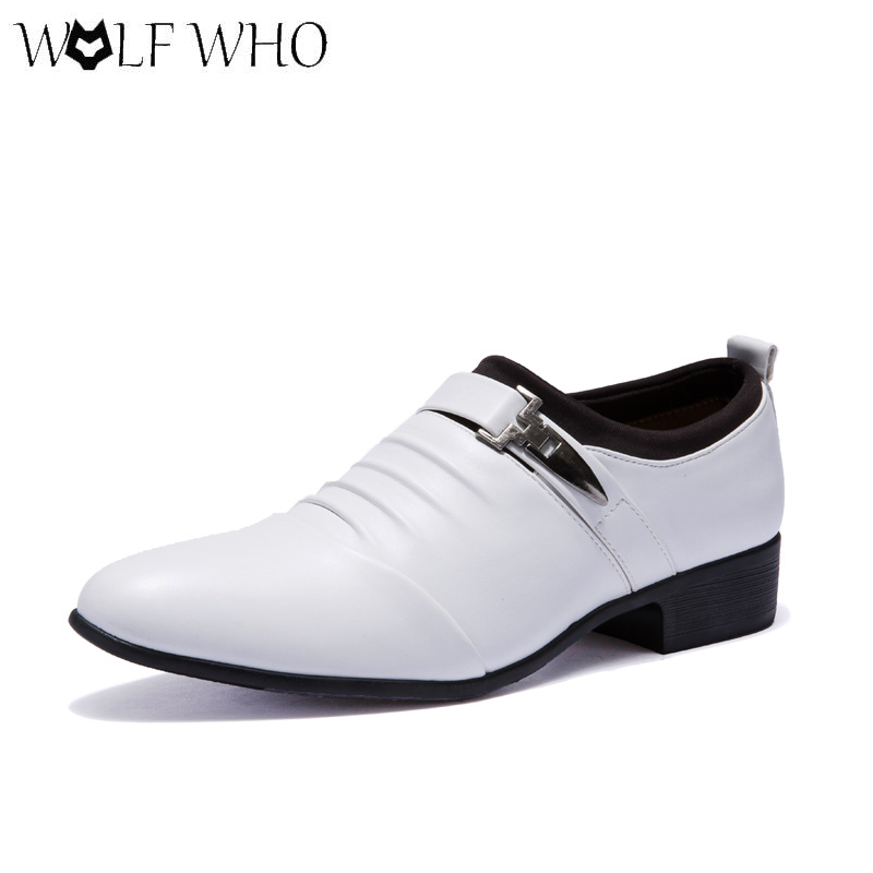 WOLF WHO Men Dress Shoes Pointed Toe Genuine Leather Wedding Shoes Men Oxfords Business Formal Shoes Social Sapato Masculino top quality crocodile grain black oxfords mens dress shoes genuine leather business shoes mens formal wedding shoes