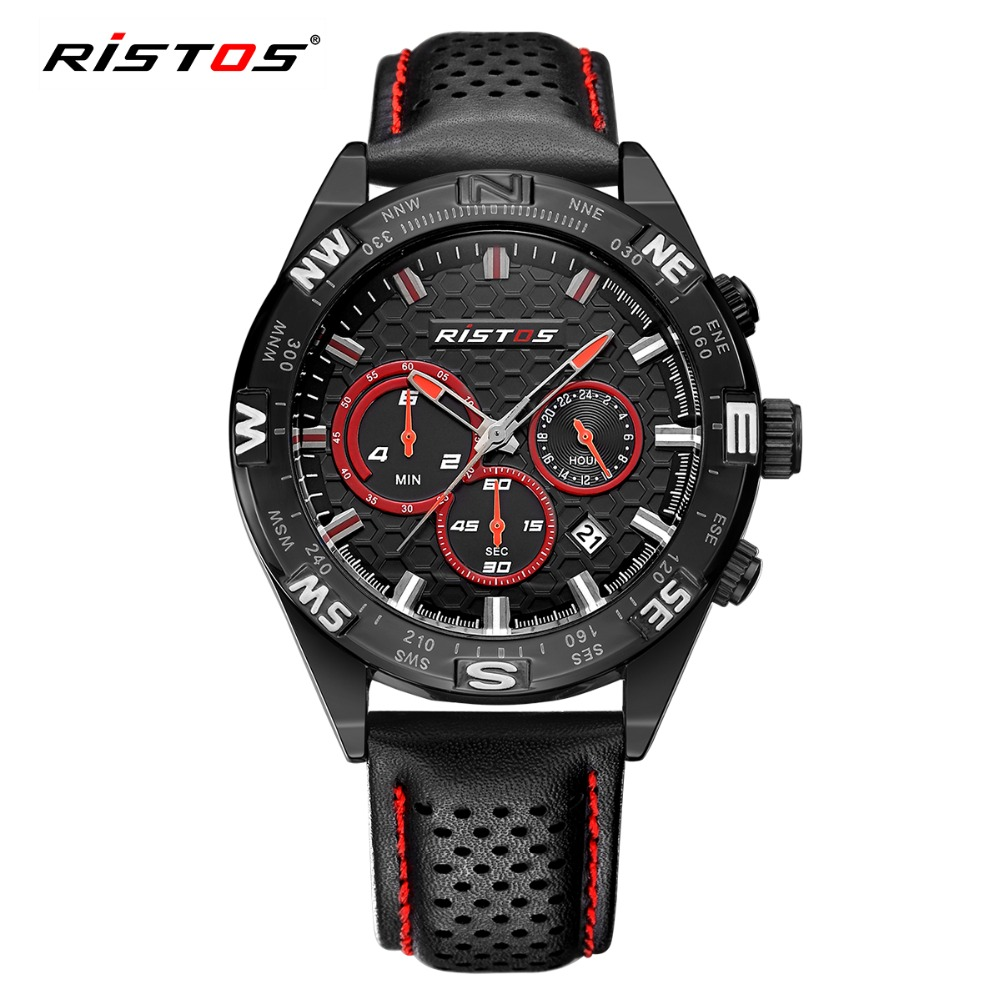 RISTOS Chronograph Sport Men Watch Top Brand Luxury Calendar Leather Quartz Watches Male Military Fashion Date Wrist Watch Clock hubot elegant classic men s watch dates calendar classical art carved craft design chronograph men sport watches relogios
