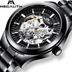 MEGALITH męskie zegarki szkieletowe Top marka luksusowe srebrne stalowe mechaniczne zegarki automatyczne zegarki wodoodporne zegar Montre Homme