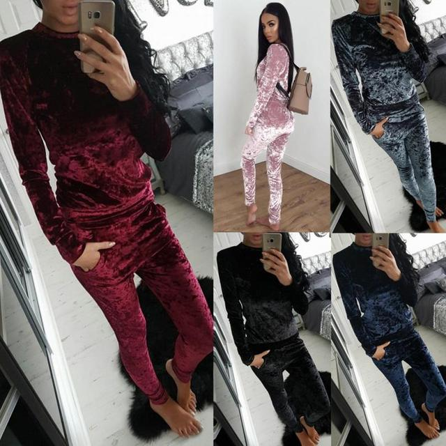 TANIA women's suits high quality solid color long sleeve tops + long pants tracksuits female two piece set 5 colors clothing
