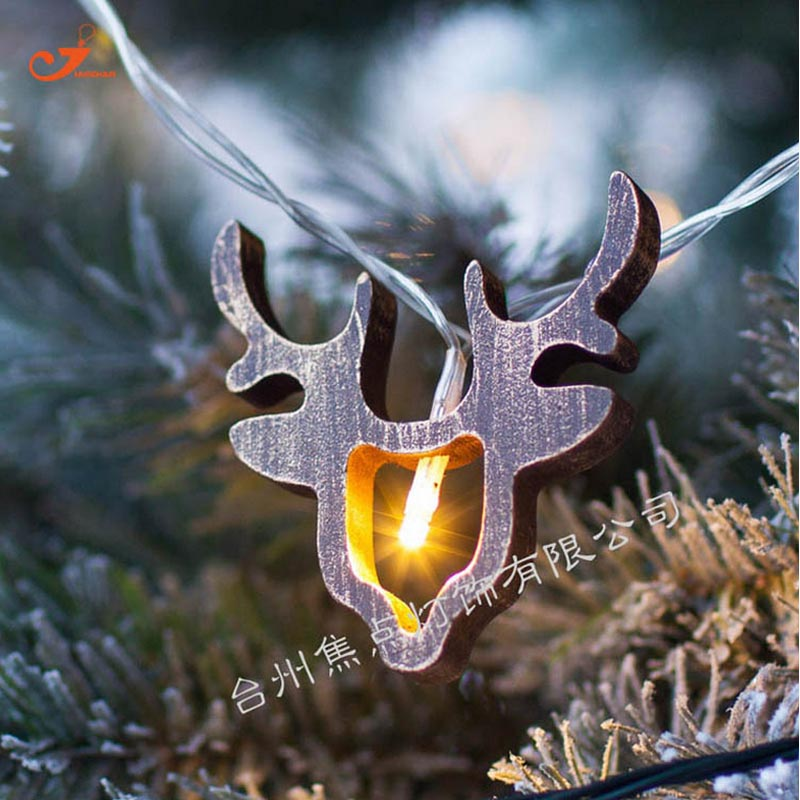 New Wooden Reindeer Girl Gift Christmas Decor 10 LEDs Battery Operated  Light String Outdoor Bulb Curtain Fairy Santa Deer Head
