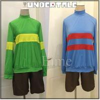 Game Undertale Protagonist Frisk Chara Hoodie Sweater Top Shirt Shorts Cosplay Costume