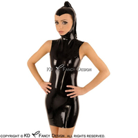 Black Sexy Latex Dress With Hoods Pony Tail Open Face Sleeveless Zipper At Back Rubber Dress Bodycon Playsuit LYQ 0084