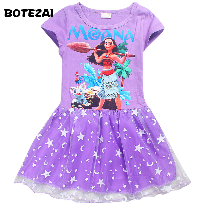 Girls Dress Summer style 100% cotton children clothing Kids Cartoon Moana princess girl print dress for 4-10 years old summer style girls clothing for 6 14 years old girl baby girls pony dress sleeveless girl children clothing