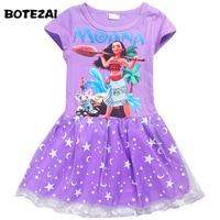 Girls Dress Summer Style 100 Cotton Children Clothing Kids Cartoon Moana Princess Girl Print Dress For