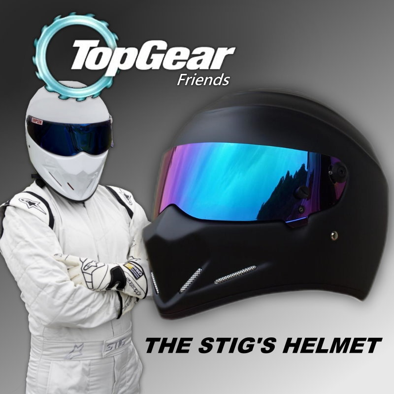 For Top gear The STIG Helmet with Colorful Visor / Full Face / as SIMPSON Pig / Matte Black Motorcycle Helmet / Stig's Brothers for top gear the stig helmet with silver visor tg collectable like simpson pig yellow motorcycle helmet you re the stig