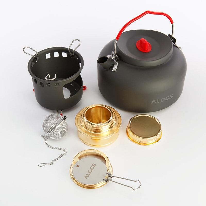 ALOCS extérieur alcool poêle et café bouilloire ensemble cuisson Portable alcool four gaz Mini poêles Camping eau thé ustensiles de cuisine