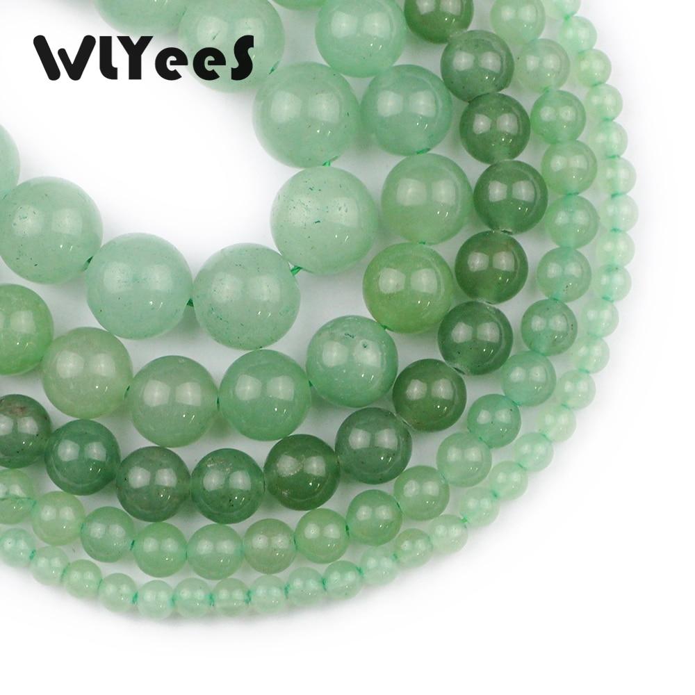 WLYeeS Hight quality Green Aventurine Stone Natural Round Beads 4-12mm Ball Jewelry Bracelet Pendant Making DIY 15 Strand