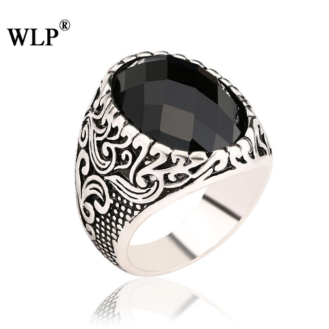 WLP 2018 new Gold&Silver Plated Big Opal Ring Resin Precious Stone Classical Men