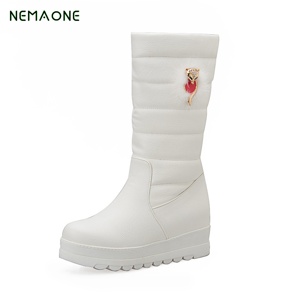 NEMAONE 2017 winter boots women warm knee high boots round toe down fur ladies fashion thigh snow boots shoes waterproof botas doratasia big size 34 43 women half knee high boots vintage flat heels warm winter fur shoes round toe platform snow boots