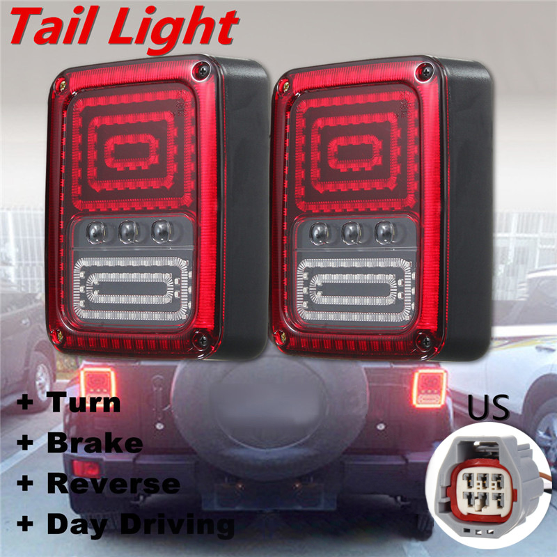 2Pcs 3 in 1 Car LED Rear Signal Reverse Tail Lights Brake Lamp for Jeep for Wrangler 07- 16 Tail led lamp