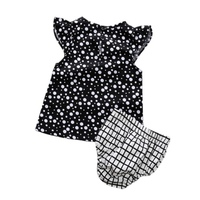 2Pcs Lovely Baby Girls Clothes Bebe Sets Bodysuit Infant Summer Dots Print T Shirt+Plaid Shorts Costume 0-5Y