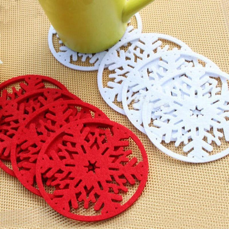10 PCS Christmas Decoration Cup Mats Pads Christmas Snowflake Coaster Non-woven Cup Coaster Home Supplies