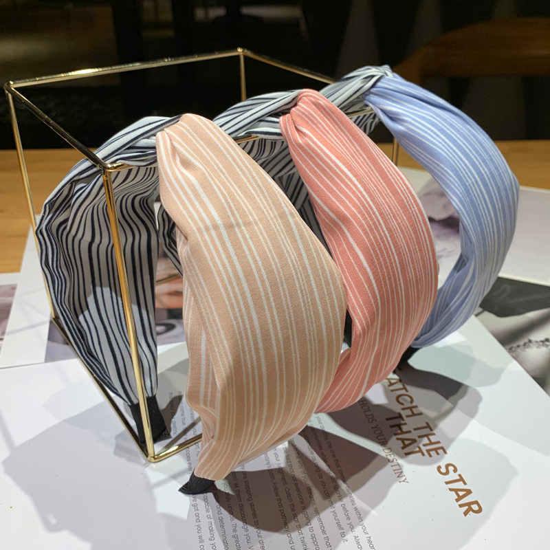 Корейский оплетка лентой Для женщин хлопчатобумажная ткань, плетенная повязка для головы Винтаж твист аксессуары для волос в виде тюрбана широкая лента для волос аксессуар для волос в стиле бохо